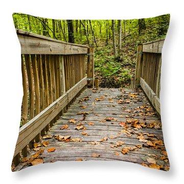 Autumn On The Bridge Throw Pillow