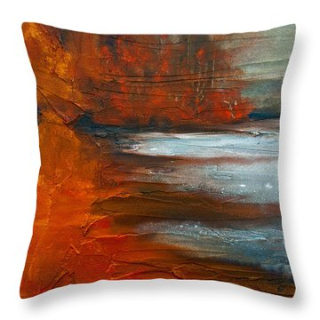 Throw Pillow featuring the painting Autumn On The Sound by Jani Freimann