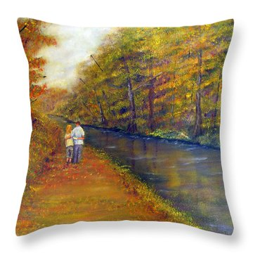 Autumn On The Towpath Throw Pillow by Loretta Luglio