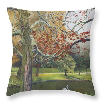 Autumn On Town Pond Throw Pillow by Barbara Barber