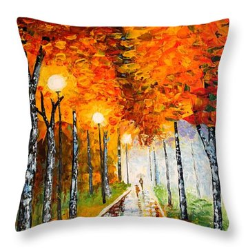 Throw Pillow featuring the painting Autumn Park Night Lights Palette Knife by Georgeta  Blanaru
