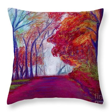 Throw Pillow featuring the painting Autumn Path by D Renee Wilson