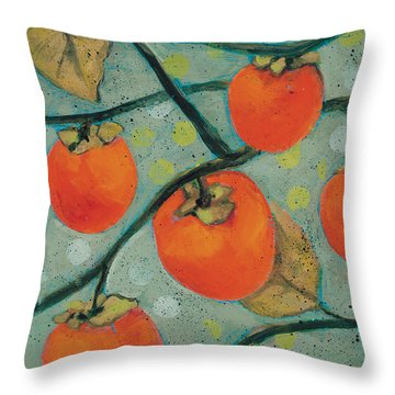 Autumn Persimmons Throw Pillow by Jen Norton