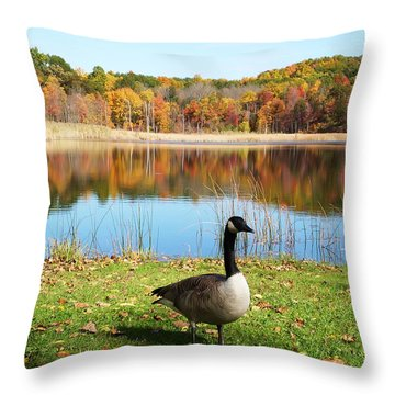 Autumn Pond Goose Throw Pillow