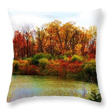 Autumn Pond Throw Pillow by P Dwain Morris