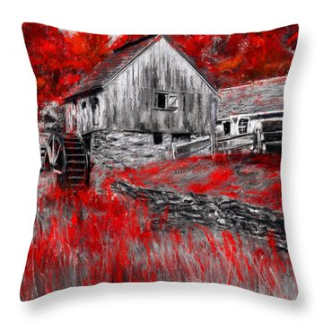 Autumn Promise- Red And Gray Art Throw Pillow