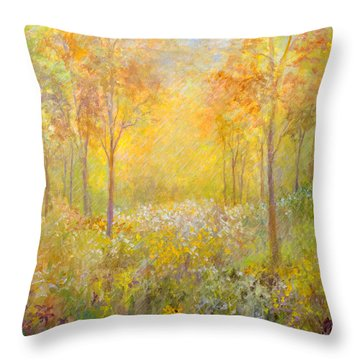 Autumn Rain Throw Pillow by Lou Ann Bagnall