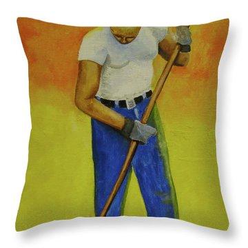 Autumn Raking Throw Pillow