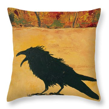 Autumn Raven Throw Pillow