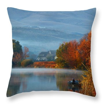 Throw Pillow featuring the photograph Autumn Reflection by Lynn Hopwood