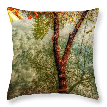Throw Pillow featuring the photograph Autumn Reflection  by Peggy Franz