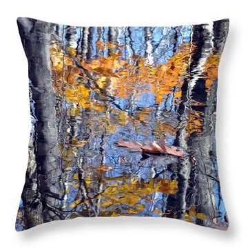 Autumn Reflection With Leaf Throw Pillow