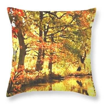 Autumn Reflections Throw Pillow by Sophia Schmierer