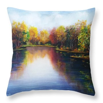 Throw Pillow featuring the painting Autumn Reflections  by Vesna Martinjak