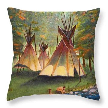 Autumn River Camp Throw Pillow