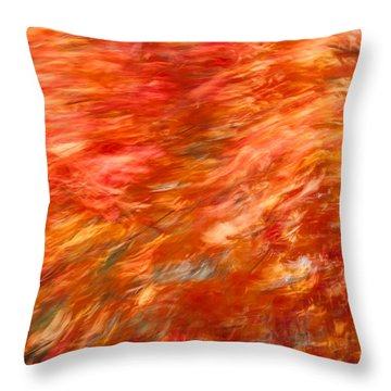 Throw Pillow featuring the photograph Autumn River Of Flame by Jeff Folger