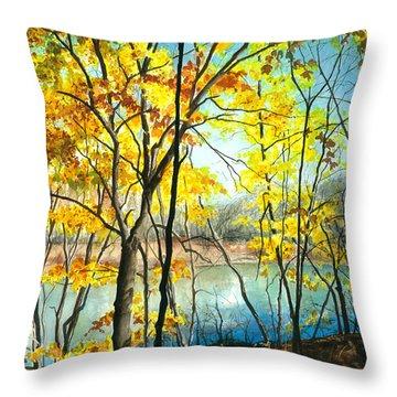 Autumn River Walk Throw Pillow