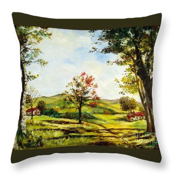 Throw Pillow featuring the painting Autumn Road by Lee Piper
