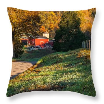 Autumn Road Morning Square Throw Pillow by Bill Wakeley