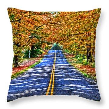 Autumn Road Oneida County Ny Throw Pillow