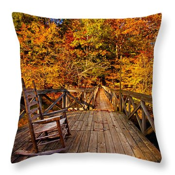 Autumn Rocking On Wooden Bridge Landscape Print Throw Pillow by Jerry Cowart