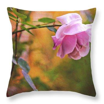 Autumn Rose Throw Pillow by Theresa Tahara