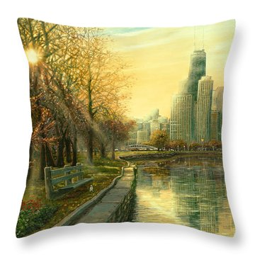 Hancock Building Throw Pillows