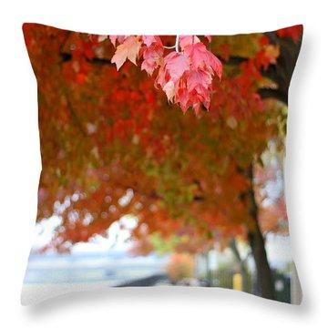 Autumn Sidewalk Throw Pillow