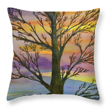 Throw Pillow featuring the painting Autumn Sky by Suzette Kallen