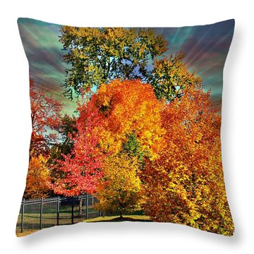 Autumn Splendor Throw Pillow by Judy Palkimas