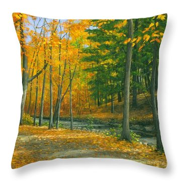 Throw Pillow featuring the painting Sawmill Creek by Michael Swanson