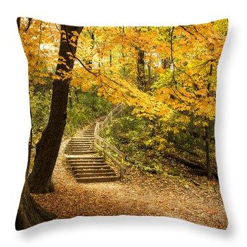 Autumn Stairs Throw Pillow by Scott Norris