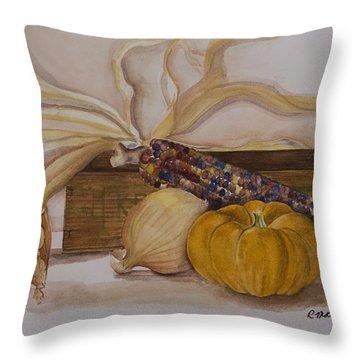 Autumn Still Life Throw Pillow by Rebecca Matthews