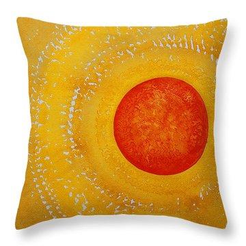 Autumn Sun Original Painting Throw Pillow by Sol Luckman