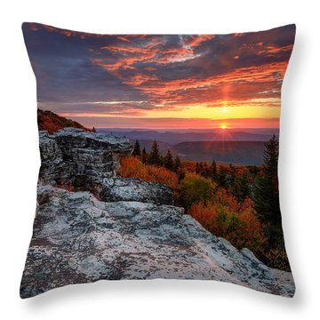 Autumn Sunrise At Dolly Sods Throw Pillow by Jaki Miller