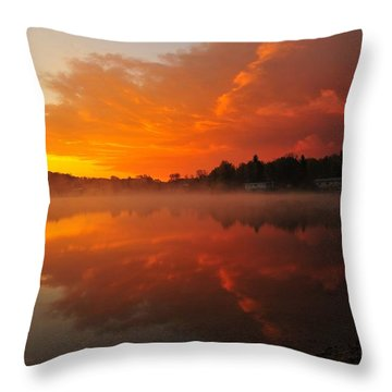 Autumn Sunrise At Stoneledge Lake Throw Pillow by Terri Gostola
