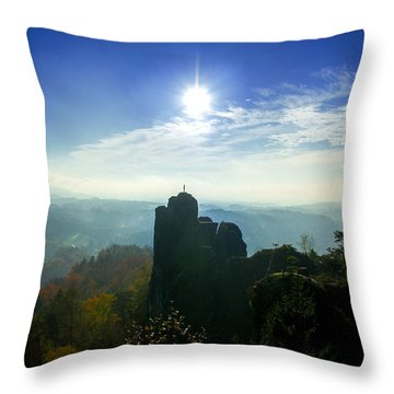 Autumn Sunrise In The Elbe Sandstone Mountains Throw Pillow