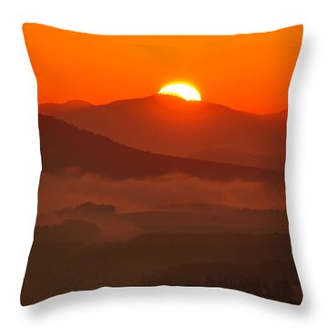 Autumn Sunrise On The Lilienstein Throw Pillow