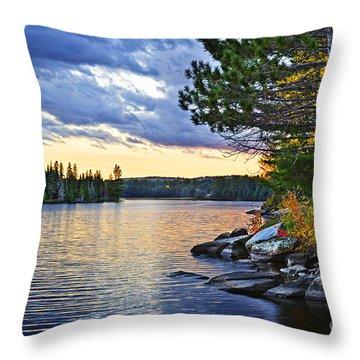 Autumn Sunset At Lake Throw Pillow
