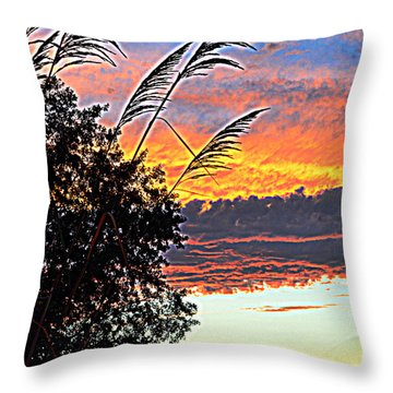 Autumn Sunset Throw Pillow by Luther Fine Art
