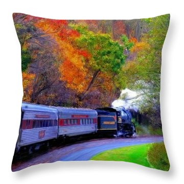 Throw Pillow featuring the painting Autumn Train by Bruce Nutting
