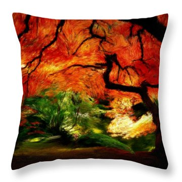 Throw Pillow featuring the painting Autumn Tree by Bruce Nutting
