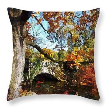 Autumn Tree By Small Stone Bridge Throw Pillow by Susan Savad
