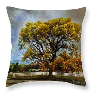Autumn Tree In Anza Throw Pillow by Rhonda Strickland