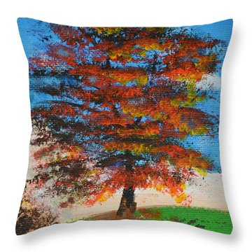 Autumn Tree Throw Pillow by P Dwain Morris