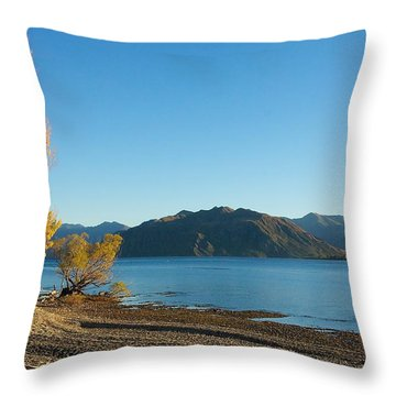 Throw Pillow featuring the photograph Autumn Trees At Lake Wanaka by Stuart Litoff