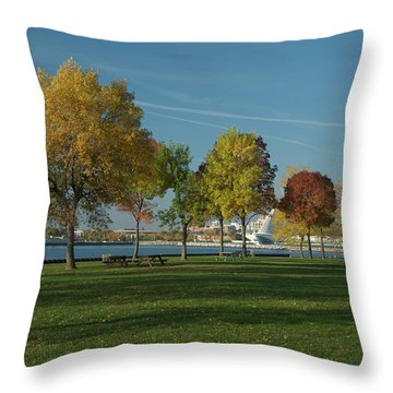 Autumn Trees Throw Pillow by Jonah  Anderson