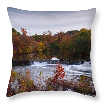 Throw Pillow featuring the photograph Refreshing Waterfalls Autumn Trees On The Stones River Tennessee by Jerry Cowart