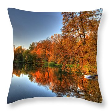 Throw Pillow featuring the photograph Autumn Trees Over A Pond In Arkadia Park In Poland by Julis Simo