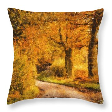 Autumn Trees Throw Pillow by Pixel Chimp